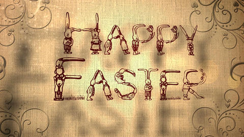 Happy Easter Animation with Easter Bunny Icons Stock Video Footage