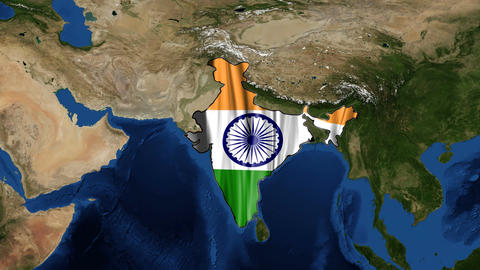 India map and flag from space zoom Footage