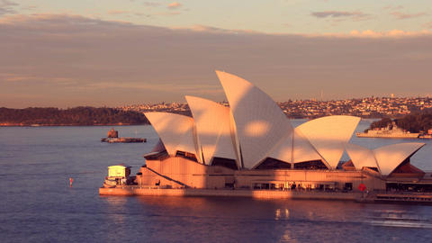 Opera House Sydney Harbour Australia Sunset City Landscape Footage