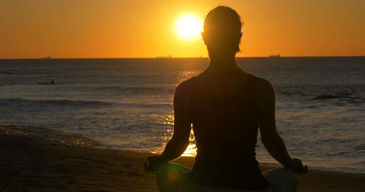 girl meditating and relaxing outdoors wellness health and lifestyle Footage