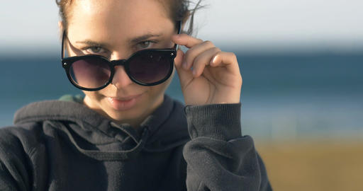 young adult model woman girl with sunglasses portrait Live Action