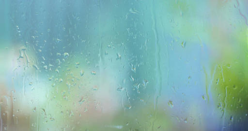 Rain drops on window glass wet weather Footage