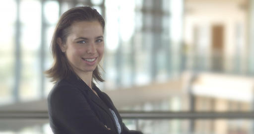 Young confident business woman person isolated standing in office building Footage