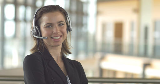 customer service call centre support receptionist business woman with headset Footage