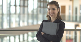 Smiling corporate businesswoman successful confident professional portrait Footage