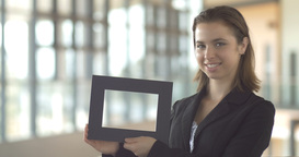 Logo promo frame corporate sales in office smiling business woman Footage