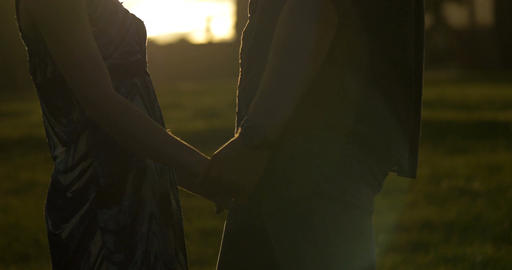 Holding hands portrait young couple in love park sunset... Stock Video Footage