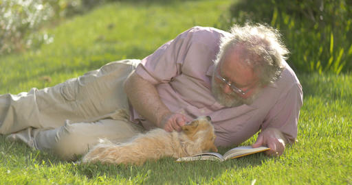 Portrait of retired elderly man relaxing outdoors reading a book with dog Live Action