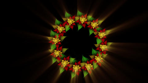 Christmas wreath, green, red and golden Animation
