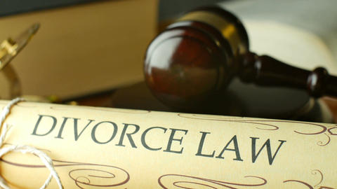 Divorce court law justice litigation concept with gavel and hammer Live Action