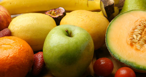 Fruits Health Daily Eating And Vitamin Rich Diet stock footage
