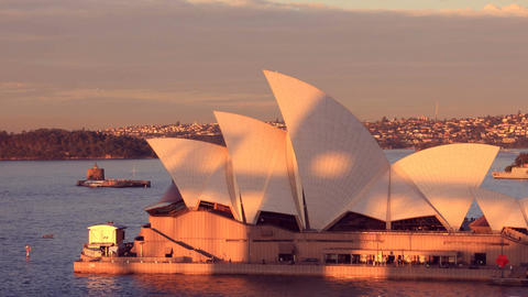 Opera House Sydney Harbour Australia Sunset City Landscape establishing shot Footage