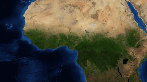 4k West Africa from space - slow zoom Footage