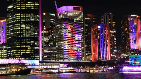 Sydney City Building Skyline Landscape Night Timelapse establishing shot Footage
