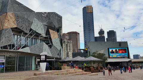 Melbourne City Victoria Australia - Federation Square Live Action