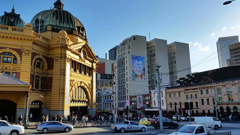 Melbourne City Victoria Australia - Flinders Street station Live Action