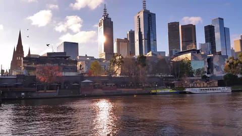 Melbourne City Victoria Australia - Yarra River Live Action