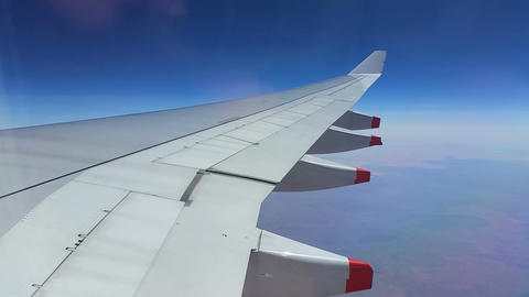Plane Wing Airbus through window - Travel Holiday Footage
