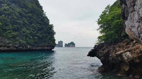 Limestone islands of Koh Phi Phi Leh or Ko Phi Phi Ley Footage