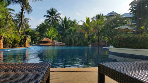 Tropical Hotel Resort Pool - Luxury Holiday Footage