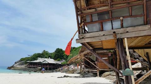 Huts On Beach Beach Racha Island stock footage