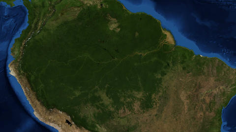 Amazon River from space zoom Live Action