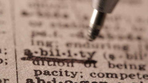 Ability - Fake dictionary definition of the word with pencil underline Footage