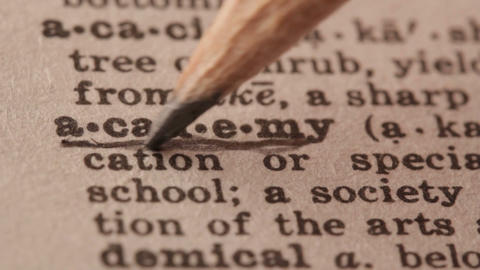 Academy - Fake dictionary definition of the word with pencil underline Live Action