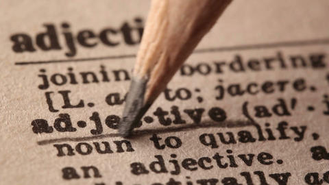 Adjective - Fake dictionary definition of the word with pencil underline Live Action