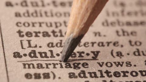 Adultery - Fake dictionary definition of the word with pencil underline Live Action