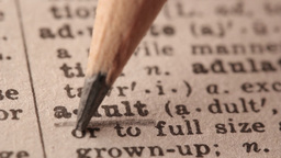 Adult - Fake dictionary definition of the word with pencil underline Live Action