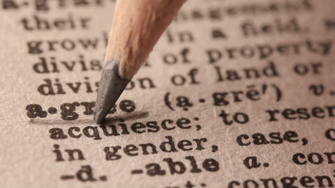 Agree - Fake dictionary definition of the word with pencil underline Live Action