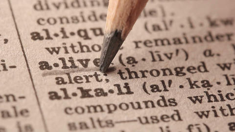 Alive - Fake dictionary definition of the word with pencil underline Live Action