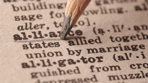 Alliance - Fake dictionary definition of the word with pencil underline Live Action