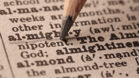 Almighty - Fake Dictionary Definition Of The Word With Pencil Underline stock footage