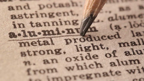 Aluminum - Fake dictionary definition of the word with pencil underline Live Action