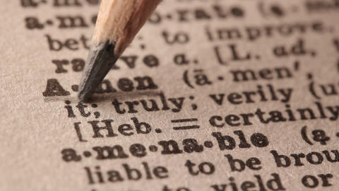Amen - Fake dictionary definition of the word with pencil underline Live Action