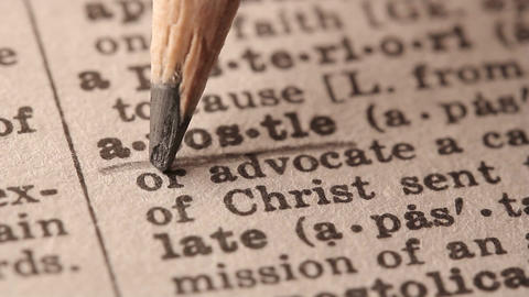 Apostle - Fake dictionary definition of the word with pencil underline Live Action