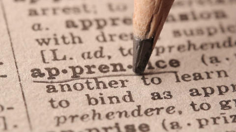 Apprentice - Fake dictionary definition of the word with pencil underline Live Action