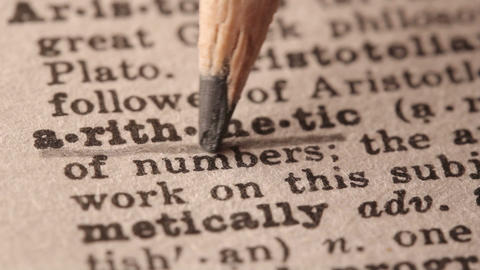 Arithmetic - Fake Dictionary Definition Of The Word With Pencil Underline stock footage