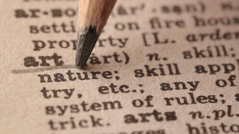Art - Fake dictionary definition of the word with pencil underline Live Action