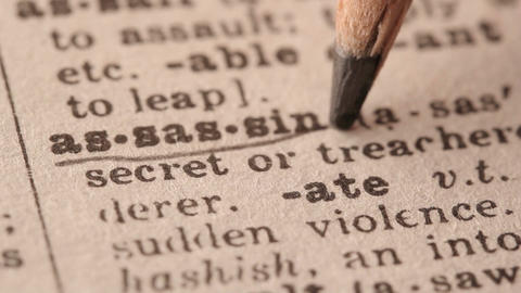 Assassin - Fake dictionary definition of the word with pencil underline Live Action