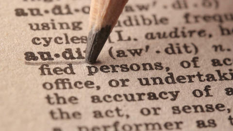 Audit - Fake dictionary definition of the word with pencil underline Live Action