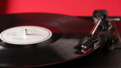 Record player retro turntable that plays vinyl vintage records Footage