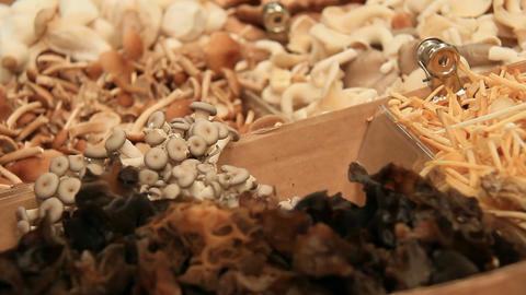 Organic Mushrooms Vegetarian Food Market Footage