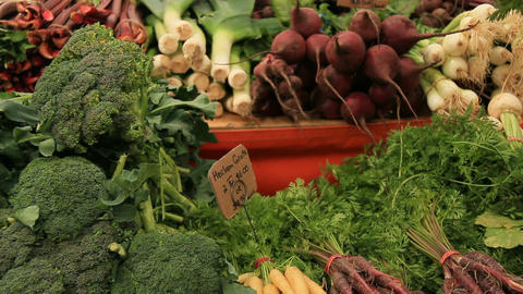 vegetables and fruit at the organic vegetarian food market Footage