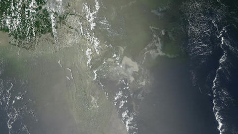 Oil Slick In The Gulf Of Mexico From Space stock footage