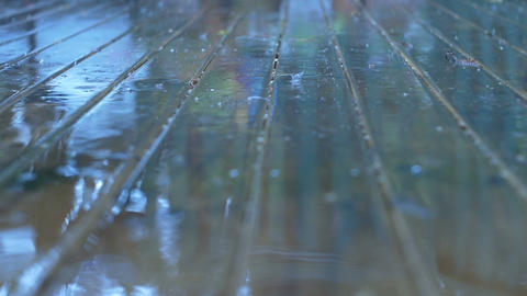 Rain Wet Weather Drops Splash on Wood Surface Footage