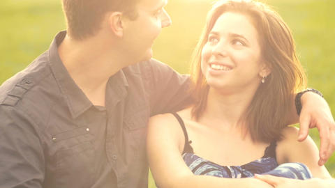 Attractive Happy Young Caucasian Male Female Couple Love Together Sunset Footage