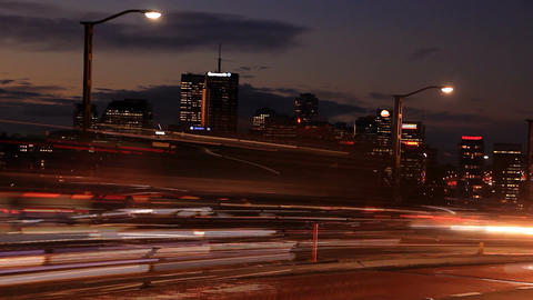 Commuter Traffic Congestion City Street Night Traffic Rush Hour Time Lapse Footage